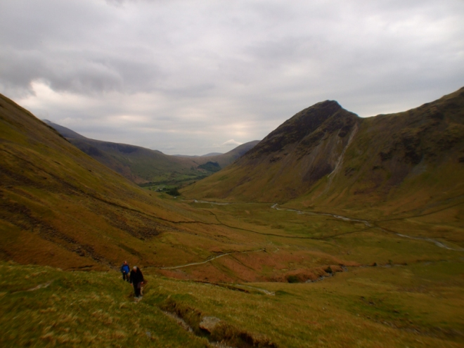 Looking back, Yewbarrow to the right.